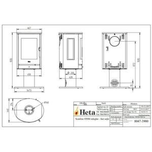HETA Scan-Line 850M sideglas med fast drejesokkel drejesøjle måltegning (1)