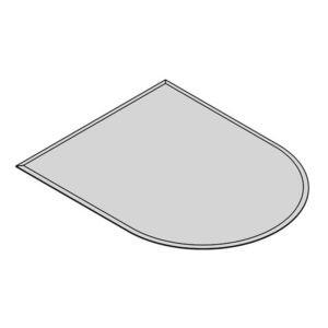glasgulvplade halvrund 6 mm facet