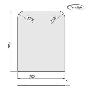 glasgulvplade firkant 2 afrundede hjørner