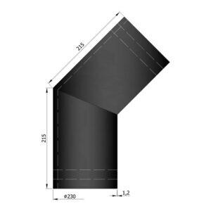 Varmeskjold dobbelt 45° Ø150